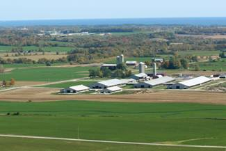 Soaring Eagle Dairy picture taken from airplane
